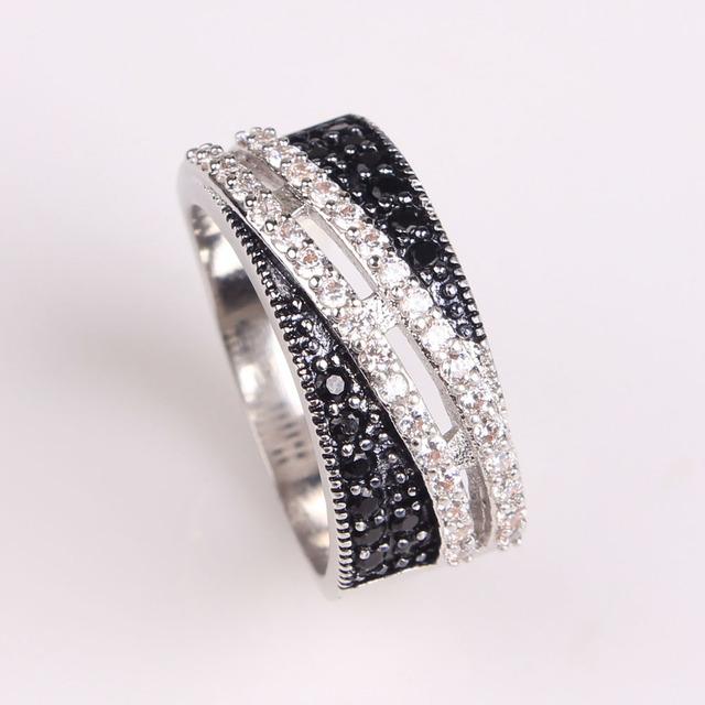 2016 женщины черный циркон обручальное кольцо platinum покрытием леди ювелирные изделия ...
