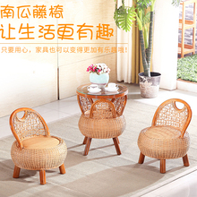 Rattan Sofa Tea Table Set 3 pieces Pumpkin seats 2 Cane Chairs 1 coffee Table Living Room Balcony Garden Sofas Furniture sets(China (Mainland))