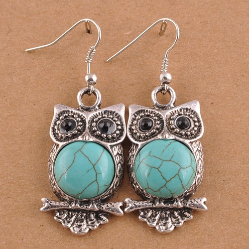 1 pair Free Ship Natural Turquoise Stone Dangle Earrings Vintage/Retro Eye Owl Silver Plated Long Drop Earrings Piercing Women(China (Mainland))