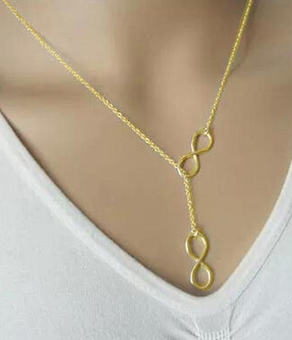 12 pieces fashion gold etsy style dual infinity pendant diy women's chains necklace xy198(China (Mainland))