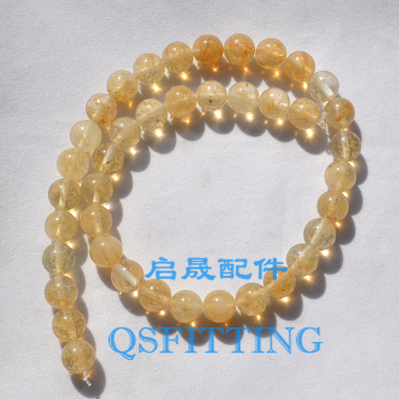 DIY fashion jewelry Accessory,10MM Nature Stone,Round Shape,Rutilated Quartz,Nature Crystal,Gold Color(China (Mainland))