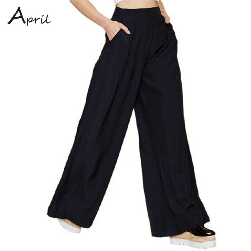 Top Quality Big Plus Size XXL-S Spring Summer Women Black Pocket Wide Leg Loose Casual Trousers High Street European Fashion New(China (Mainland))
