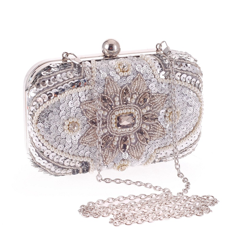 American Fashion Brand Silver Sequins Flower Appliques Women Evening Bags Clutches Bridal Beaded Crystal Metal Handbags Purse(China (Mainland))