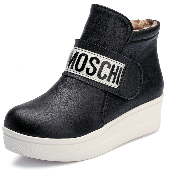 Fashion Letters Patch Wedges Platform Ankle Boots 2015 Brand Thick Sole Spring Autumn Winter Boots Keep Warm Winter Shoes Woman