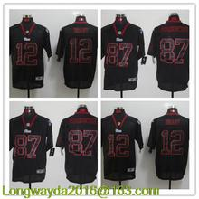 100% Stitiched,Green Bay Packers Aaron Rodgers eddie lacy Clay Matthews Brett Favre B.J. Raji all black for mens(China (Mainland))