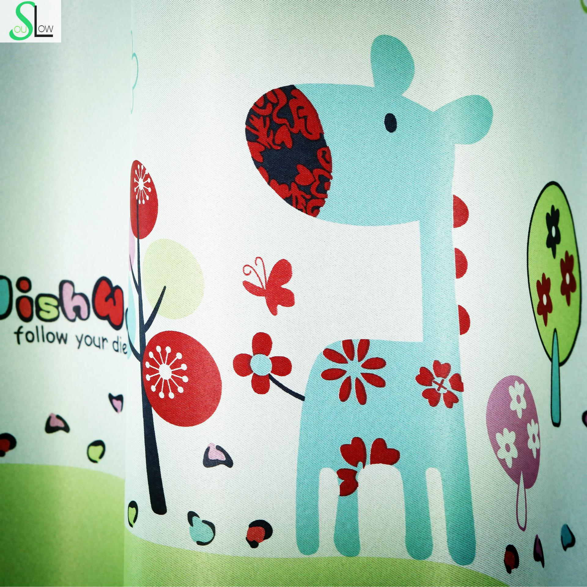 [Slow Soul]Pony Bedroom Living Room Children Cartoon Curtains Fabrics Pastoral Short Window Blackout And Tulle Curtain Fabric(China (Mainland))