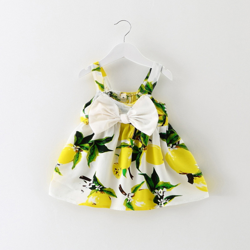 Newest Infant girls dresses Baby Dress Lemon Print Baby Girls Clothes Slip Dress Princess cute bow Dress for Baby Girls(China (Mainland))