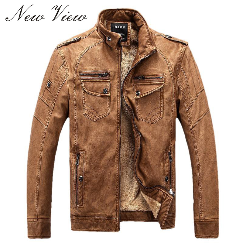 Male Motorcycle Fashion Leather Jacket Men Winter Pilot Leather Jackets And Coats Biker Mantel Mens Faux Fur Coats Famous Brand(China (Mainland))