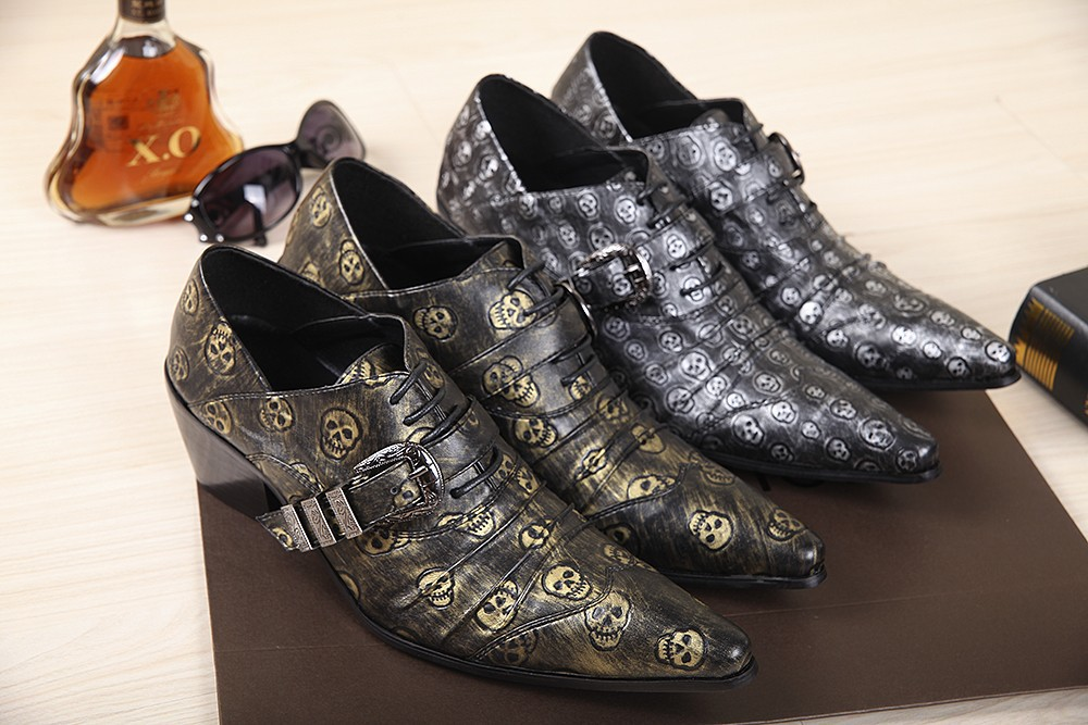 2015 NEWEST High Grade Men Leather Skull High Quality Oxfords Mens Italian Dress Shoes Wedding Party black Shoes Classic Brand(China (Mainland))