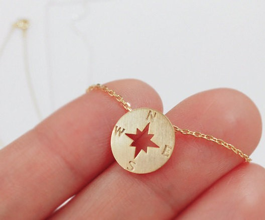 1pcs Gold plated round jewelry Find your true north vintage best friend Nautical compass necklace christmas gift tiny necklace(China (Mainland))