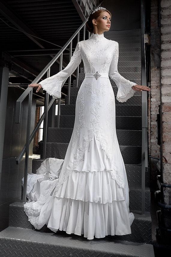 Popular bell sleeve wedding dresses buy cheap bell sleeve Wedding dress 1960