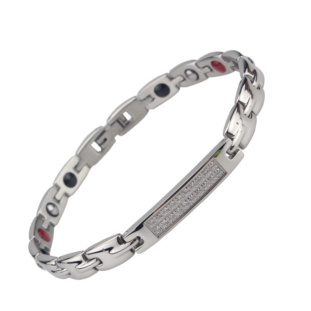 Women Titanium Bracelets Bangle Energy Wristband Heath 4 Elements Stone FIR/Germanium/Magnet/Anion Fashion Jewelry Best Gift(China (Mainland))