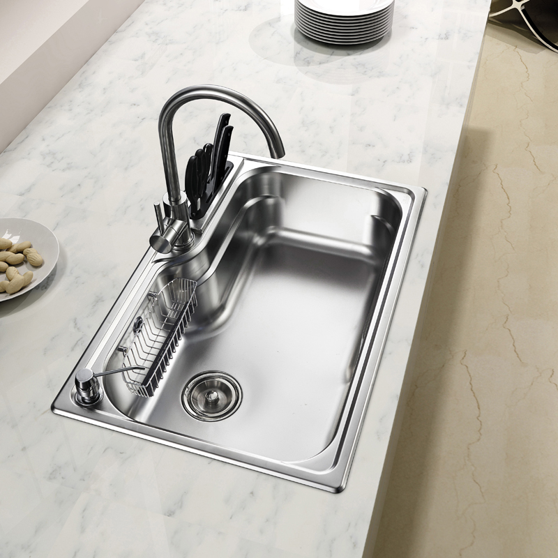 Free shipping 304 stainless anti oil groove single vegetable washing Kitchen Sinks(China (Mainland))