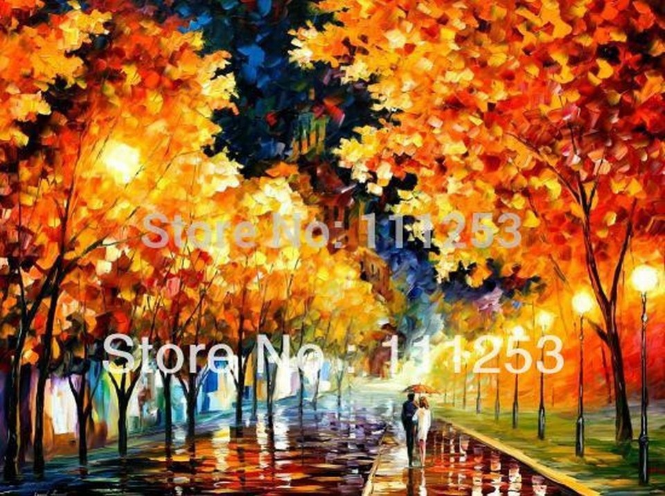 Buy 2016 Home Decor Quadros De Parede free Shipping Top Quality Wall Art Knife Oil Painting Romantic Night Lover Under The Umbrella cheap