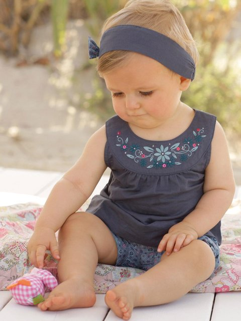 2015 New Blue Baby Vestidos Suits/Baby Kerchief+ Sleeveless Dress+ Gingham Plaid Pant/ New Arrived DS21