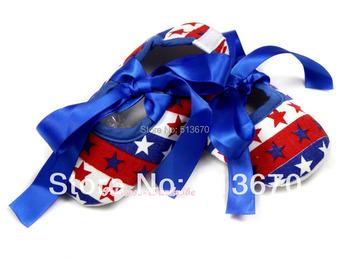 4TH July USA Flag Stripes Stars Infant Royal Blue Ribbon Baby Crib Shoes NB-18M MAAS021