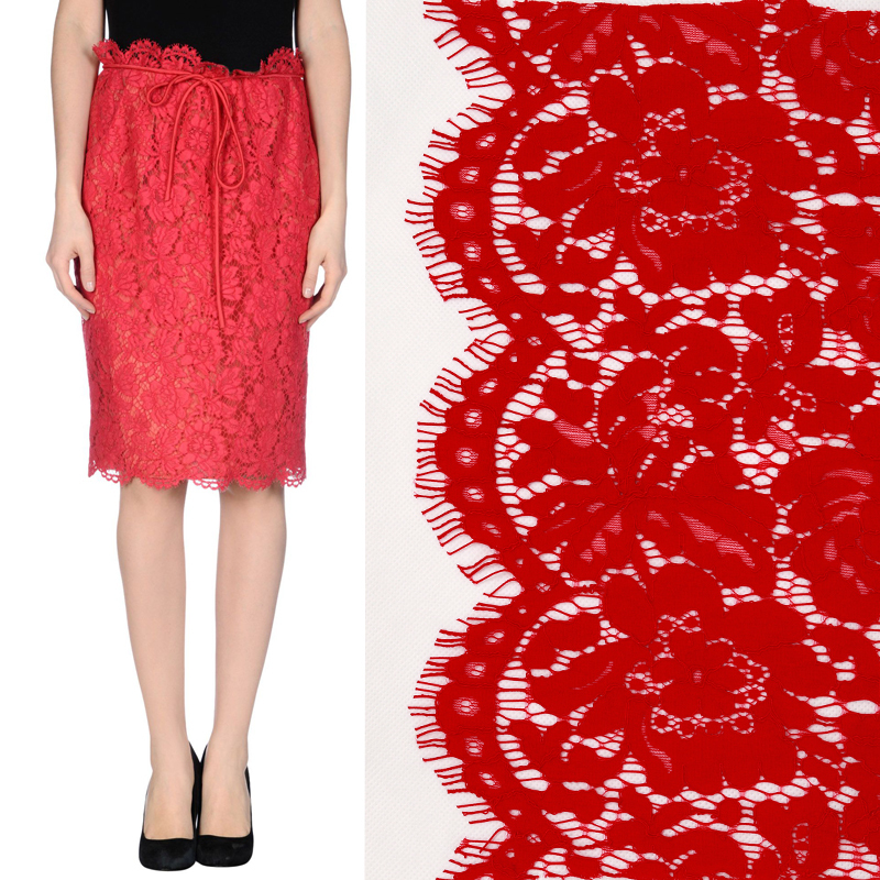 VALENT Red Heavy Lace Pencil Skirts, Fashion Midi Trendy Clothing, haute couture - MIC Co., Ltd store