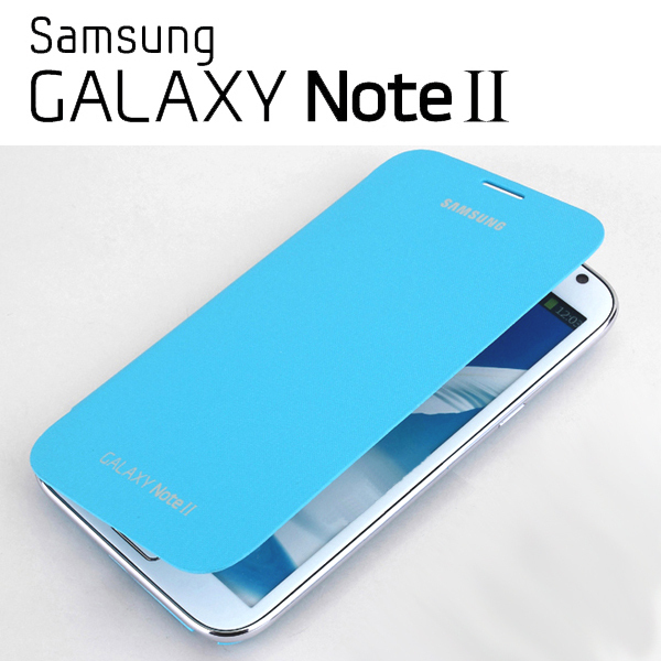 OEM Samsung Galaxy Note 2 N7100 Flip Cover Case + Screen Protectro : Light blue
