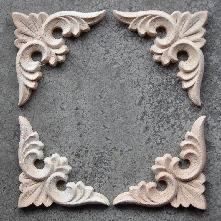 Dongyang wood carving corner flower smd fashion applique wood motif cutout carved furniture door cabinet(China (Mainland))