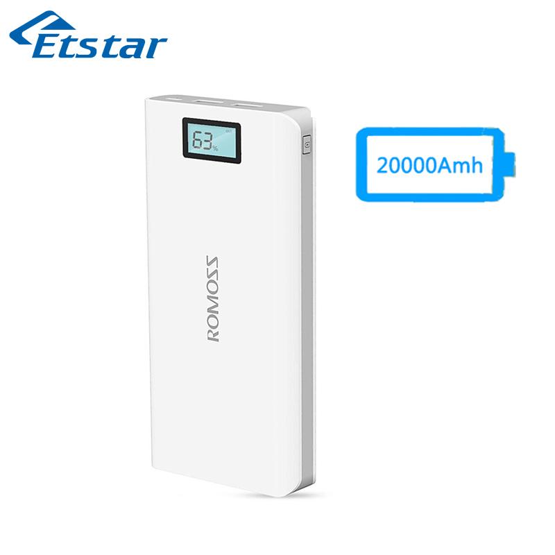 Original ROMOSS Sense6 Plus 20000mAh Power Bank Dual USB Digital Display For Mobile Power Charger For Xiaomi max Mi5 Redmi Note(Hong Kong)