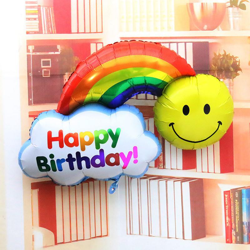 100cm free shipping aluminum balloons birthday party arranged wholesale sided large rainbow smiley balloon(China (Mainland))