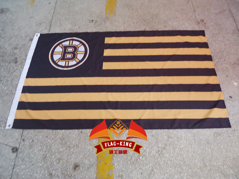 NHL Boston Bruins with American national flag background flag, green banner,90*150CM polyster free shipping(China (Mainland))
