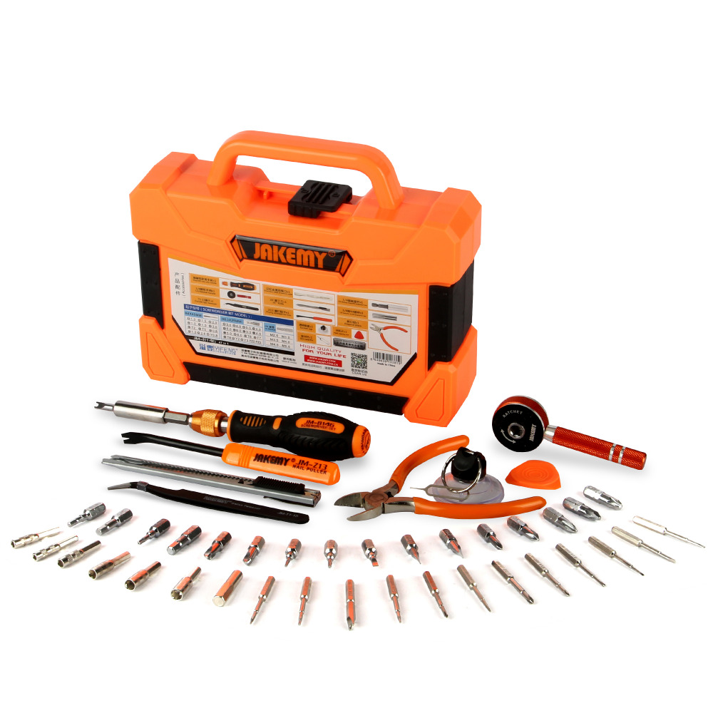 JAKEMY Professional Electronic Precision Screwdriver Set Hand Tool Box 47 in 1 Household Maintenance PC Repair Tools Kit(China (Mainland))
