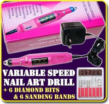 Electric Nail Art File Drill 6 Bits Acrylic Tool 110V And 220V Manicure Machine File acrylic nail kit Free shipping wholesale