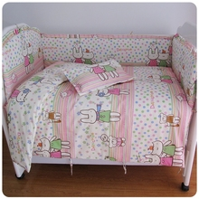 Promotion! 6PCS baby crib bedding set baby cot beds baby bed linen 100% cotton ,include (bumpers+sheet+pillowcase)