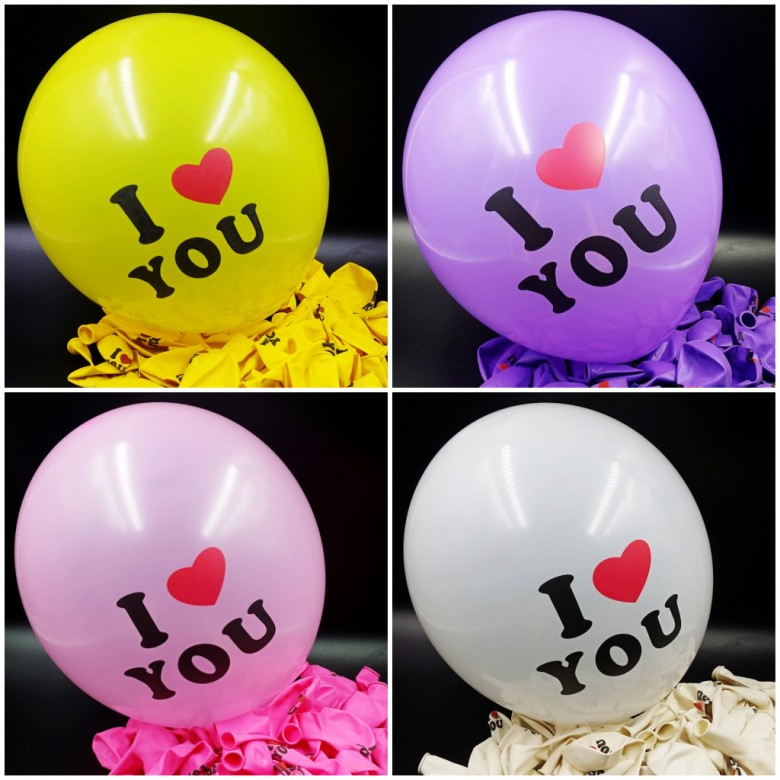 High quality 12 inch balloons wedding I Love You print ballons 100 cute latex baloon Party Decoration Supplies Party goods(China (Mainland))
