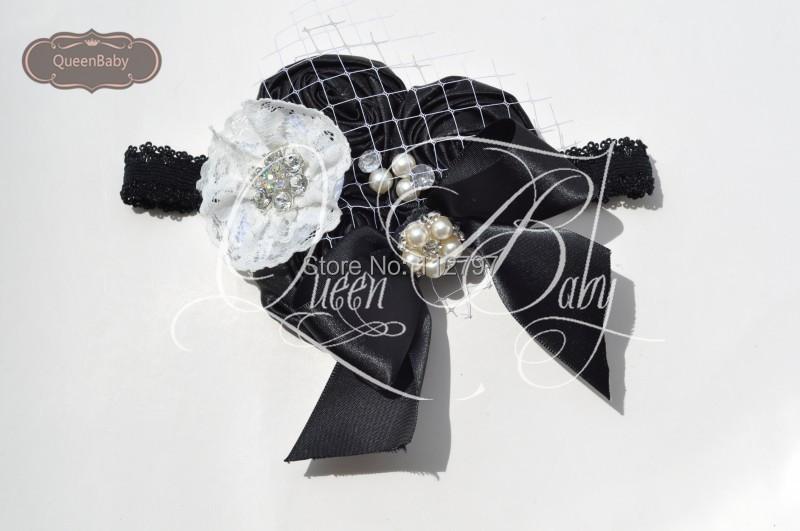 10pcs/lot Triple Black Satin Rosette With Bow Matching Sparkling Pearl Rhinestone Headband Baby Girl Headband(China (Mainland))