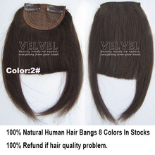 8 Colors+Free Shipping 100% Human Hair Bangs Fringe Natural Hair Bang Fashion Franja Remy Hair Pieces Hairdo Black Blonde(China (Mainland))