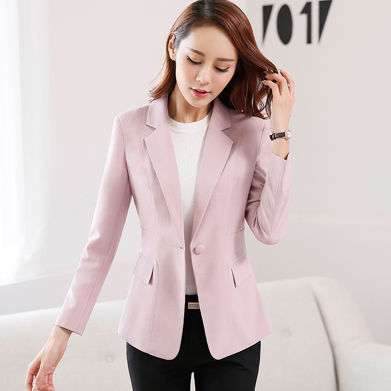 Women Long sleeve One button candy color Jackets 2017 Spring Autumn Vogue Solid Slim Office wear Coat Blazer Female Orange Tops