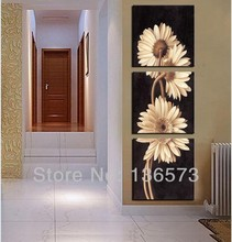 Handmade Oil Painting Yellow Mums Flowers pictures on the wall 3 panel canvas art modern abstract  3 piece Canvas Sets For Sale(China (Mainland))