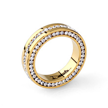 Free Shipping brand Name Rhinestone Stainless Steel Austria Crystal Women And Men Ring Fashion Jewelry18K Gold Plated  Ring(China (Mainland))