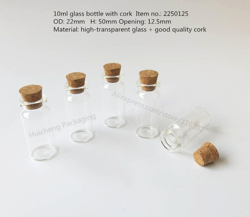 Free Shipping - 24 x 10ml Wishing Glass Bottle with Cork, 10cc glass vials,display bottle, 55*50*22mm(China (Mainland))