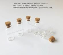 50 x 10ml Wishing Glass Bottle with Cork 10cc glass vials display bottle, 55*50*22mm(China (Mainland))
