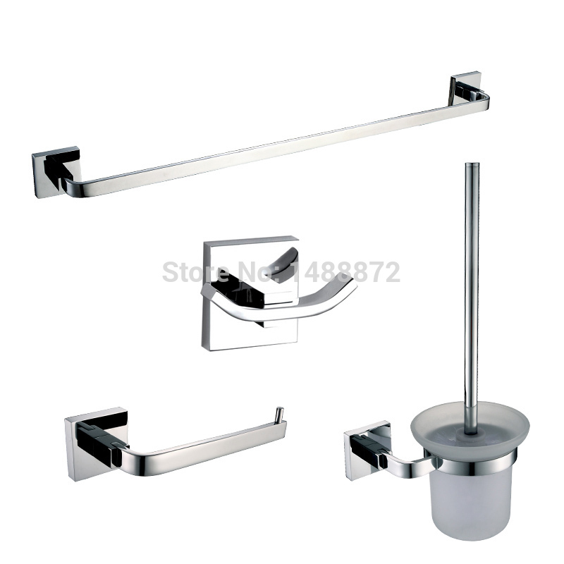 Bathroom hardware set solid brass bathroom accessories towel bar toilet paper holder robe hook - Bathroom accessories towel bars ...