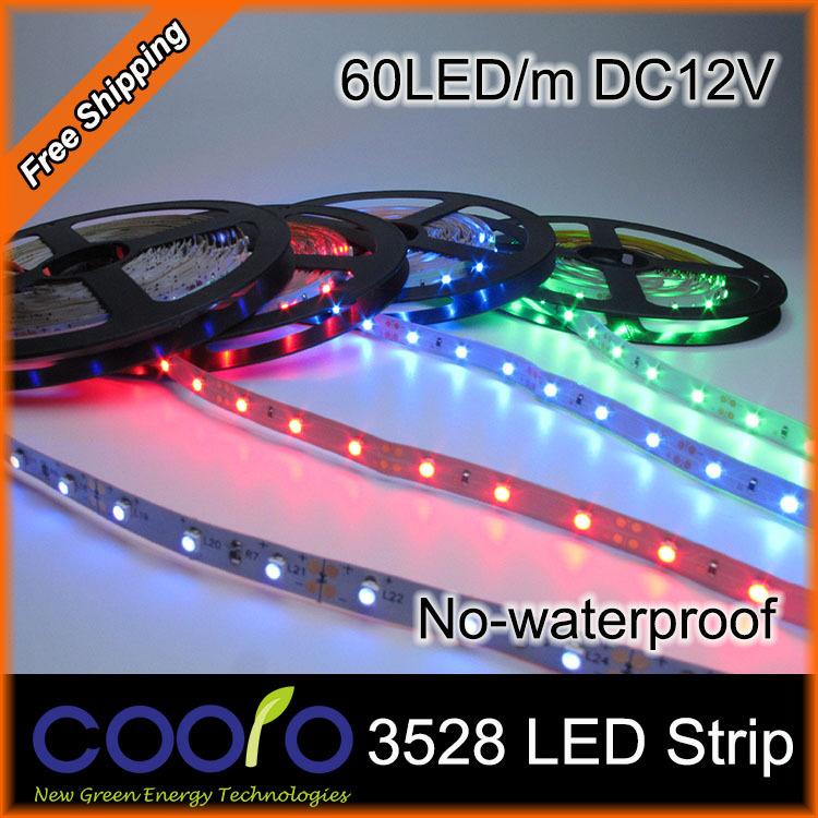 LED strip,5m 300 LED 3528 SMD 12V flexible light 60 led/m,No-Waterproof,white/warm white/blue/green/red/yellow(China (Mainland))