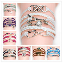 Wholesales New Fashion Charm Vintage Multilayer Charm Leather Bracelet Jewelry Double Infinite Bracelet Factory Price (China (Mainland))