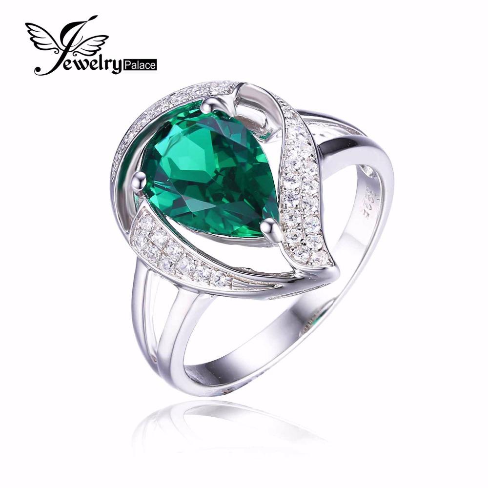 Fashion Wedding Gift Stylish Women Trendy Nano Russian Emerald Ring 925 Sterling Silver Size 6 7 8 - Jewelrypalace Gemstones store
