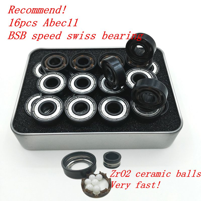 Pro-blacken Excellent Speed 608 z Skate Bearing Swiss BSB Brand Abec11 Hybrid Ceramic White ZrO2 Ball Skateboard Bearing Skating(China (Mainland))