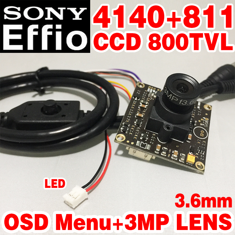 Real 1/3Sony CCD Effio 4140dsp+811 800tvl Analog Finished HD Monitor mini camera chip module 3.6mm 3.0mp lens osd menu cable(China (Mainland))