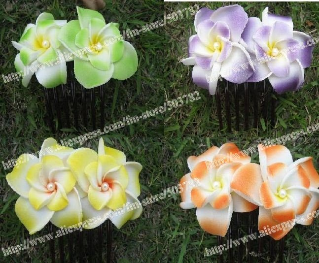 Free shipping!100pcs Hawaiian Plumeria Flower Foam...
