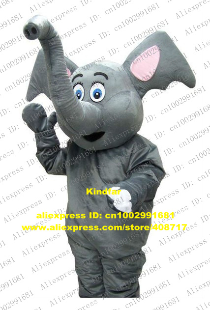 Happy Gray Elephish Calf Elephant Elephould Like Mascot Costume Adult Size With Long Gray Fat Nose Curve Eyebrow No.5520 Free Sh(China (Mainland))
