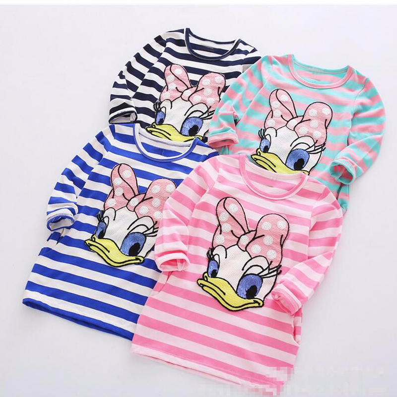 Girls Princess dress Hello kitty Dress Toddler Dresses Donald Duck Girls Clothing Cotton Baby Kids Dresses For Girls Long Sleeve(China (Mainland))