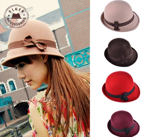 2015 Kentucky Derby Hats Wine Color Roll Brim Ladies Bolwer Trilby Hats Wool Fedoras Bowknot Charm Cloche For Women [gen-647](China (Mainland))