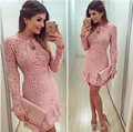 2016 Autumn Fashion Casual Womens Sexy Dresses Party Night Club Dress Fall Long Sleeve Pink Lace