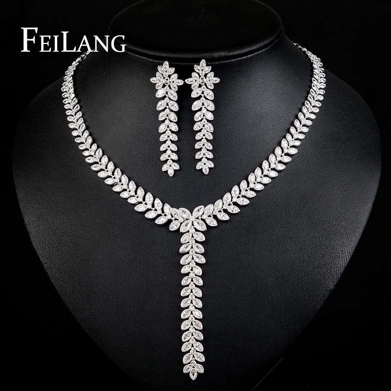 FEILANG White Gold Plated Top quality CZ Diamond Little Leaf Cluster Necklaces and Long Earrings Party Jewelry Sets (FSSP080)<br><br>Aliexpress