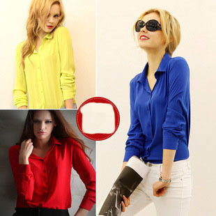 Blusas 2015 New Fashion Women Clothes Chiffon Full Sleeve Turn-down Collar Plus size Solid S-L Cardigan Blouse Shirt 8101(China (Mainland))